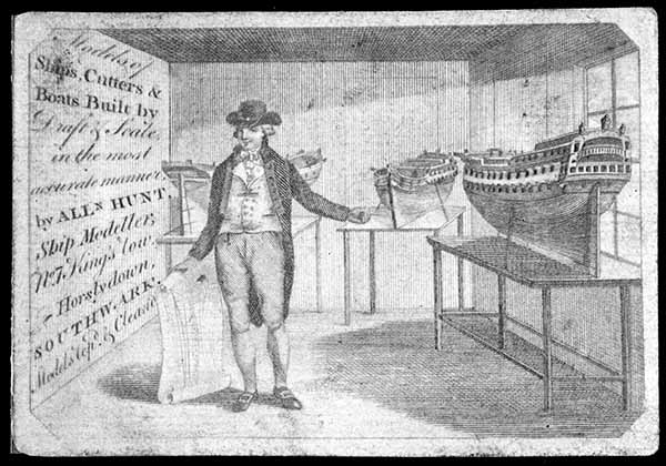 Trade card 18th century ship modeller Allen Hunt, Southwark
