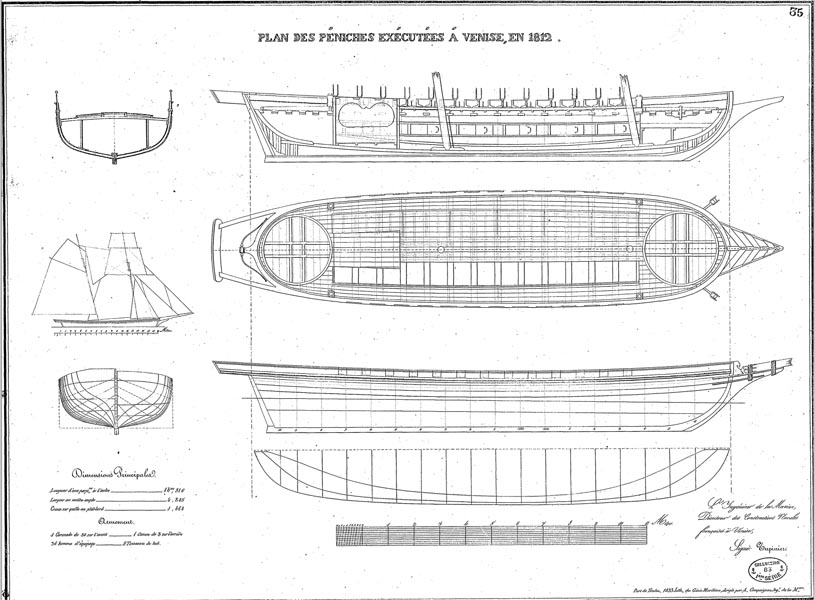 Example of ship drawing, hull lines, longitudinal cut, deck plan and sail plan